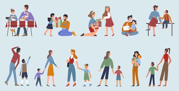 Padres con niños felices paternidad establecen dibujos animados familia personas pasan tiempo juntos