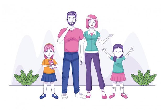 Padres pareja con hijas personajes familiares