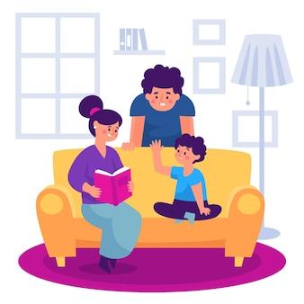 Los padres pasan tiempo juntos con sus hijos.