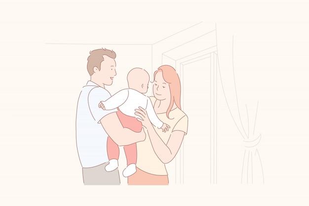 Padres con su ilustración de bebé