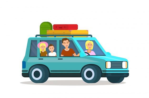 Padres viajando con niños juntos. viaje familiar