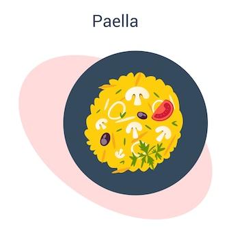 Paella con marisco y arroz en un plato