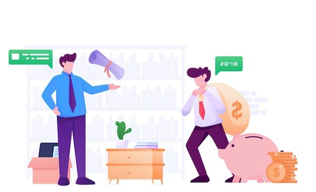 Pagar impuestos y debcollector ilustración plana