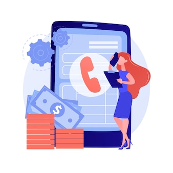 Pagar llamada. comunicarse a través de un teléfono inteligente. contacto telefónico, línea de ayuda, atención al cliente. resolución de problemas con consultor telefónico. hablar por celular. ilustración de metáfora de concepto aislado de vector.