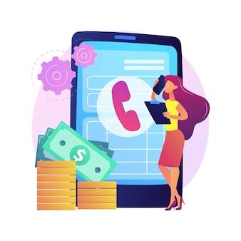 Pagar llamada. comunicarse a través de un teléfono inteligente. contacto telefónico, línea de ayuda, atención al cliente. resolución de problemas con consultor telefónico. hablar por celular. ilustración de metáfora de concepto aislado.