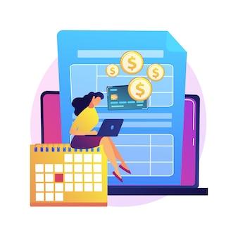 Pagar un saldo adeudado ilustración del concepto abstracto. realización de pagos de crédito, pago de dinero adeudado a un banco, saldo adeudado, consolidación y gestión de deudas, factura del contribuyente.