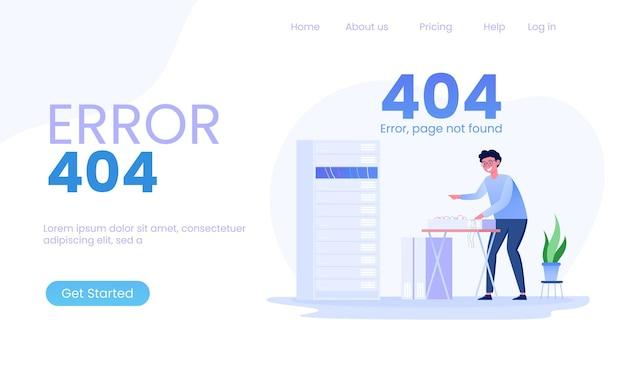 Página 404 error ilustración de mantenimiento de administradores de red y servidor