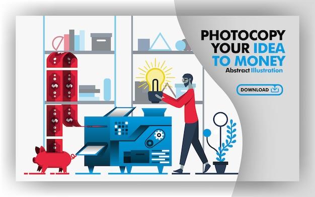 Página abstracta de fotocopia tu idea de dinero
