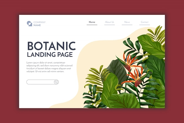 Página de aterrizaje botánica