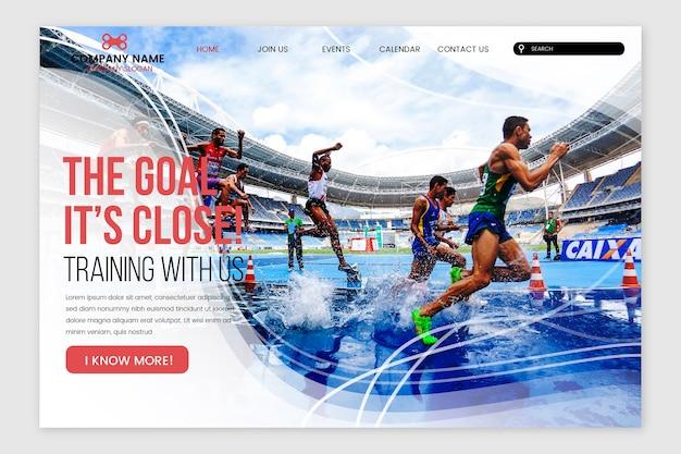 Página de aterrizaje deportiva con imagen