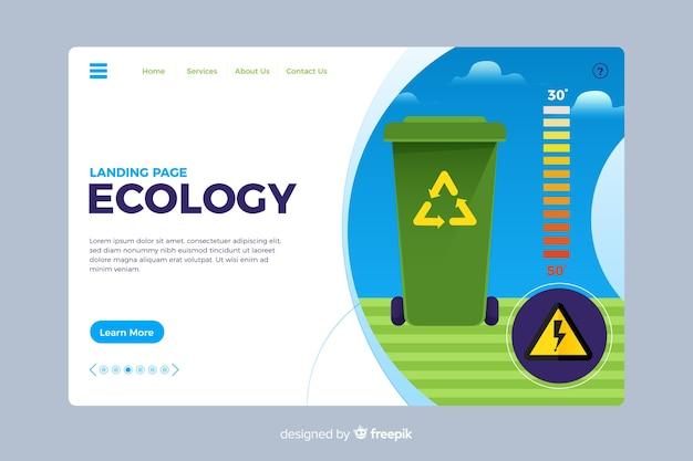 Página de aterrizaje de ecología estilo plano