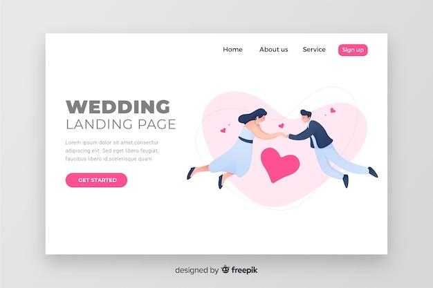 Página de aterrizaje elegante diseño de boda