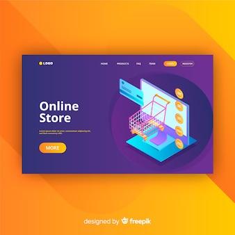 Página de aterrizaje en estilo isométrico de tienda online