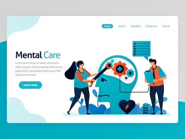 Página de aterrizaje ilustración de cuidado mental. reparar mente y psicología. conciencia de la enfermedad mental. cuida la salud mental, la mente y el cerebro.