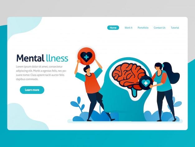 Página de aterrizaje ilustración de enfermedad mental. a la gente le encanta el problema cerebral. terapia de salud para personas problemáticas. curación mental y tratamiento.