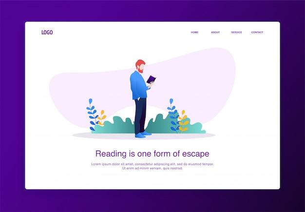 Página de aterrizaje ilustración del hombre leyendo un libro