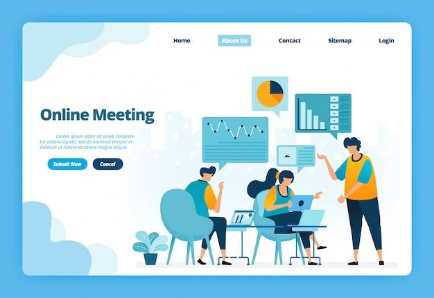 Página de aterrizaje ilustración de una reunión en línea. reuniones de negocios y conferencias para la planificación de estrategias de marketing.