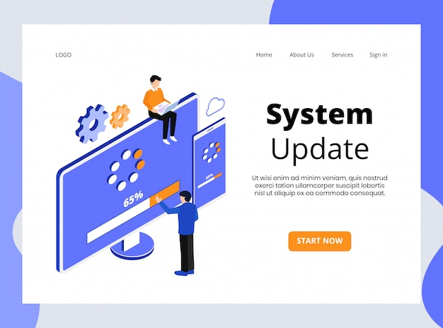 Página de aterrizaje isométrica de actualización del sistema