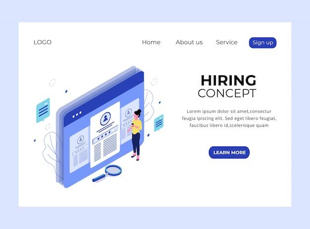 Página de aterrizaje isométrica del concepto de contratación