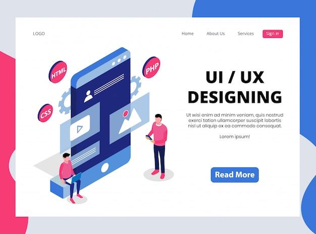 Página de aterrizaje isométrica de diseño ui / ux
