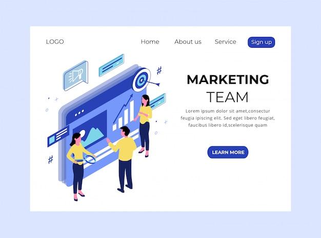 Página de aterrizaje isométrica del equipo de marketing