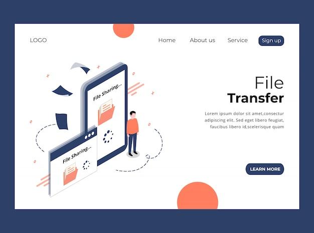 Página de aterrizaje isométrica de file transfer template premium