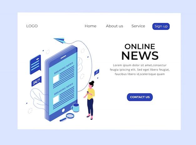 Página de aterrizaje isométrica de noticias en línea