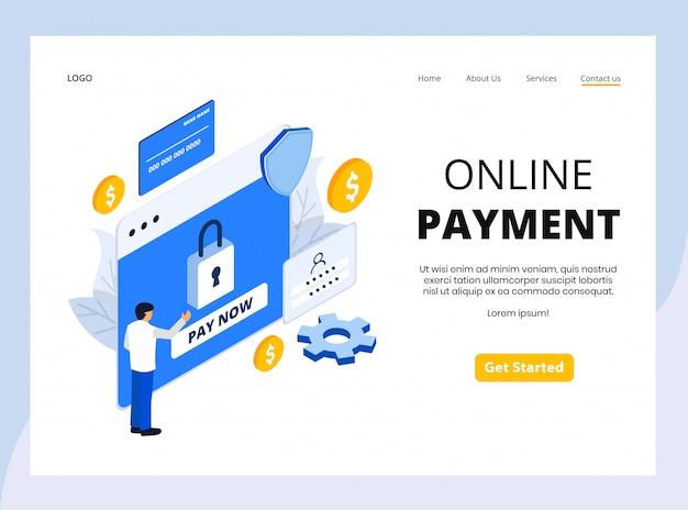 Página de aterrizaje isométrica de pago en línea