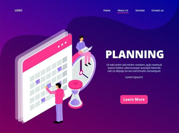 Página de aterrizaje isométrica de planificación