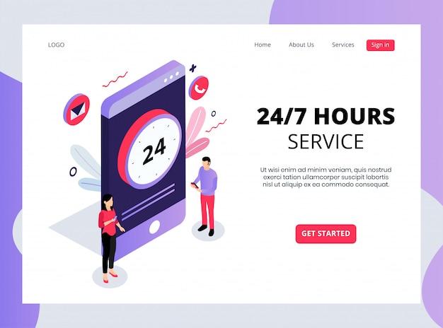 Página de aterrizaje isométrica de servicios las 24 horas, los 7 días de la semana
