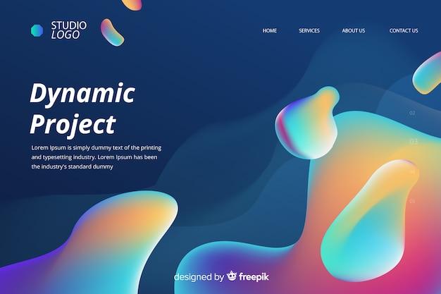 Página de aterrizaje líquida del proyecto dinámico