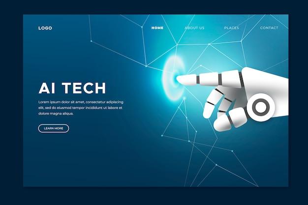Página de aterrizaje de mano de inteligencia artificial