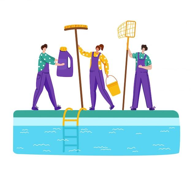 Página de aterrizaje mantenimiento de piscinas o servicio de limpieza, grupo de personas en miniatura, productos de limpieza para piscinas -