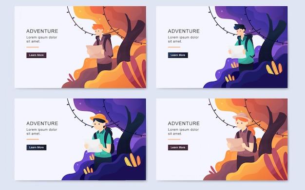 Página de aterrizaje moderna aventura bosque plano