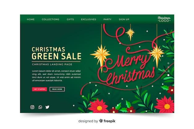 Página de aterrizaje de navidad de venta dibujada a mano