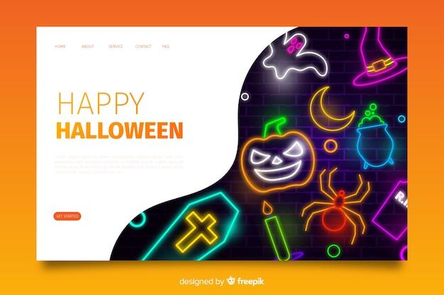 Página de aterrizaje de neón de halloween