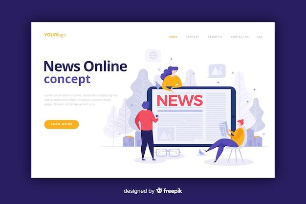 Página de aterrizaje de noticias estilo plano