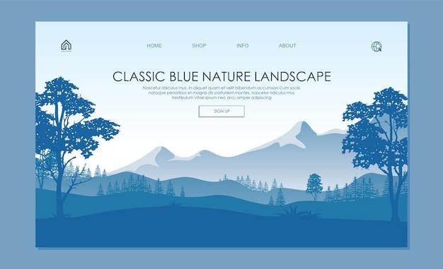 Página de aterrizaje del paisaje forestal. con de colores azules clásicos