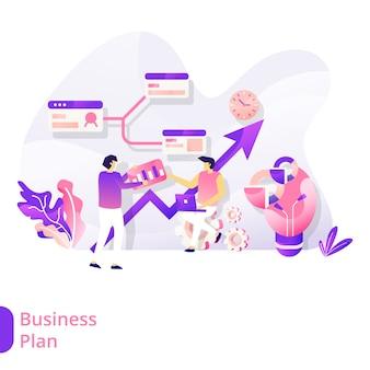 Página de aterrizaje plan de negocios ilustración vectorial concepto moderno