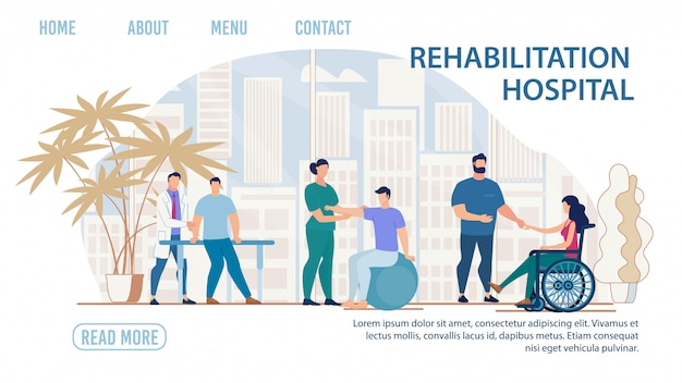 Página de aterrizaje plana del hospital de rehabilitación médica