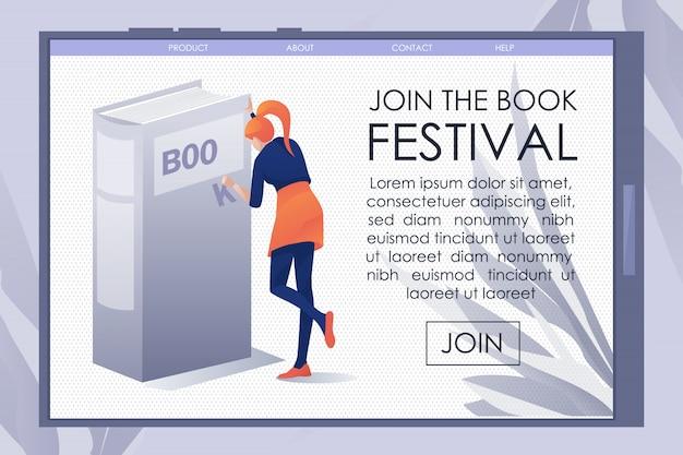 Página de aterrizaje plana móvil que invita al festival del libro