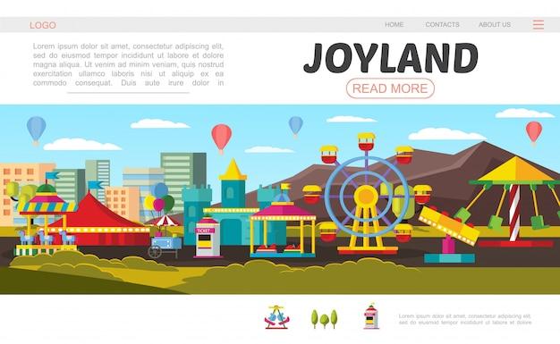 Página de aterrizaje plana del parque de atracciones con rueda de la fortuna castillo, carrito de comida, boletería, globos de aire caliente, carpa giratoria y diferentes atracciones