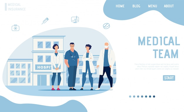 Página de aterrizaje plana que presenta el equipo médico moderno