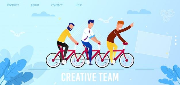 Página de aterrizaje plana que promueve el servicio de equipo creativo