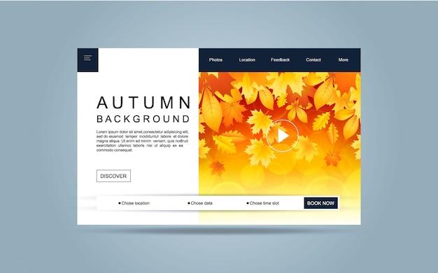 Página de aterrizaje plantilla de otoño para el sitio web.