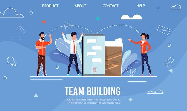 Página de aterrizaje publicidad efectivo trabajo en equipo