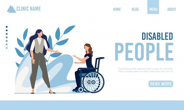 Página de aterrizaje que ofrece ayuda para personas discapacitadas