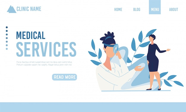 Página de aterrizaje que ofrece servicio médico para embarazadas