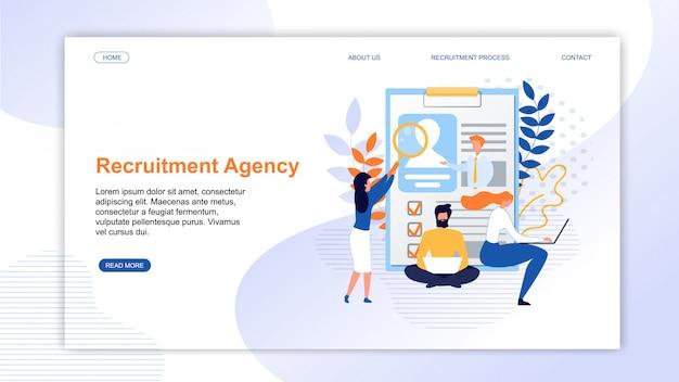Página de aterrizaje que presenta la agencia de reclutamiento en línea
