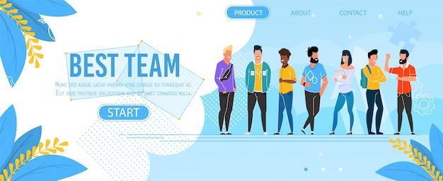 Página de aterrizaje que presenta el mejor equipo del grupo empresarial